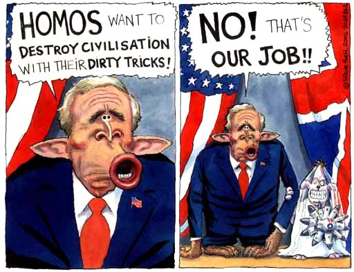 Anti-GLBT Dubya Bush, depicted in a 2004 illustration by Steve Bell for the UK's Guardian.